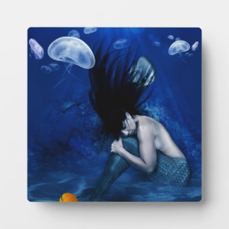 Mermaid Sleeping at the Bottom of the Ocean Photo Plaque