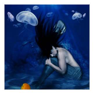 Mermaid Sleeping at the Bottom of the Ocean Poster