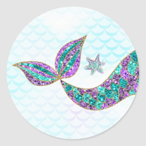 Mermaid sticker Glitter Under the sea Thank you