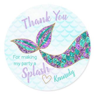 Mermaid sticker Glitter, Under the sea Thank you