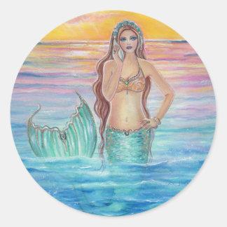 mermaid sunset ocean stickers by Renee Lavoie
