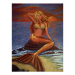 Mermaid Sunset Poster