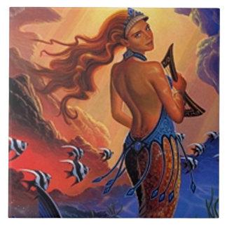 Mermaid Sunset Sea Harp Tile