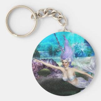 Mermaid Swimming Basic Round Button Keychain