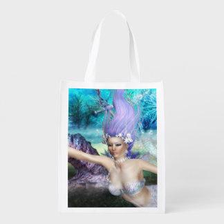 Mermaid Swimming Grocery Bags