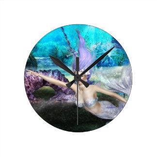 Mermaid Swimming Round Clock
