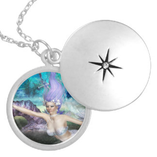Mermaid Swimming Silver Plated Necklace