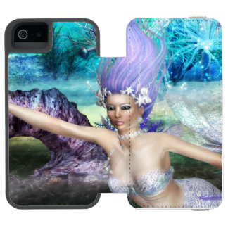 Mermaid Swimming Wallet Case For iPhone SE/5/5s