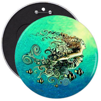 Mermaid Swimming with the Fish Pinback Button