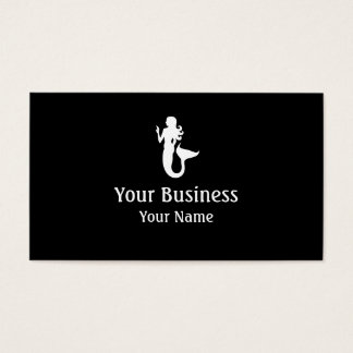 Mermaid symbol black white custom business cards