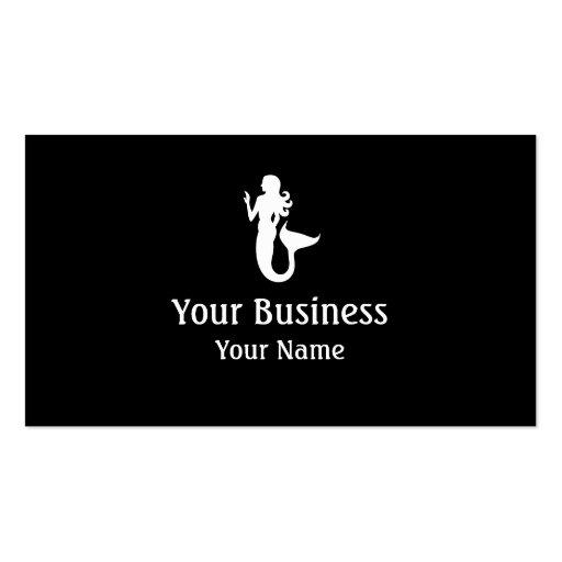 Mermaid symbol black white custom business cards