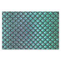 mermaid tail aqua blue teal scale pattern tissue paper