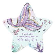 Mermaid Tail Birthday Baby Shower Thank You Favor Star Sticker
