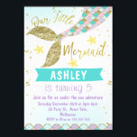 "mermaid Tail Birthday invitation<br><div class=""desc"">Looking for a mermaid tail or under the sea birthday invitation with a little bling? This design features a mermaid tail, some star fish and a fish scale pattern. I&#39;ve also added some faux gold text and a faint watercolor background on a scanned watercolor paper. More designs in this theme...</div>"
