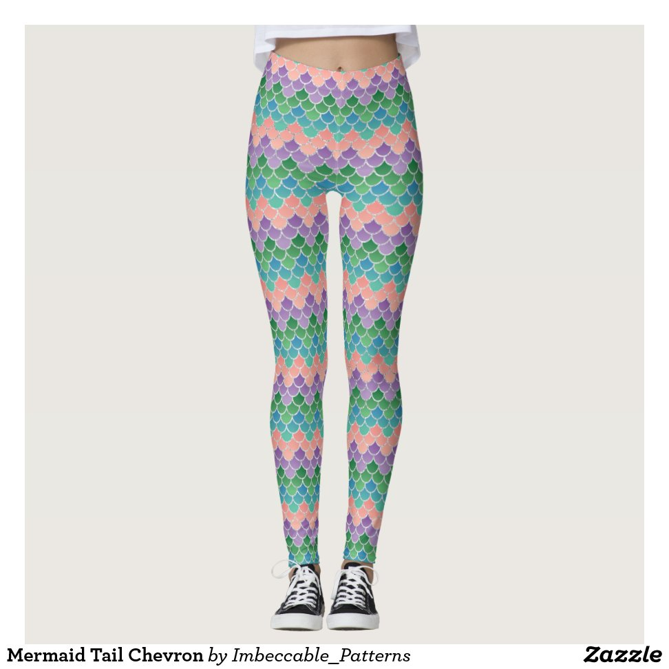 15b40be22cc04 Mermaid Tail Chevron Leggings - Yoga Leggings And Exercise Tights With  Beautiful Graphic Designs For Gym
