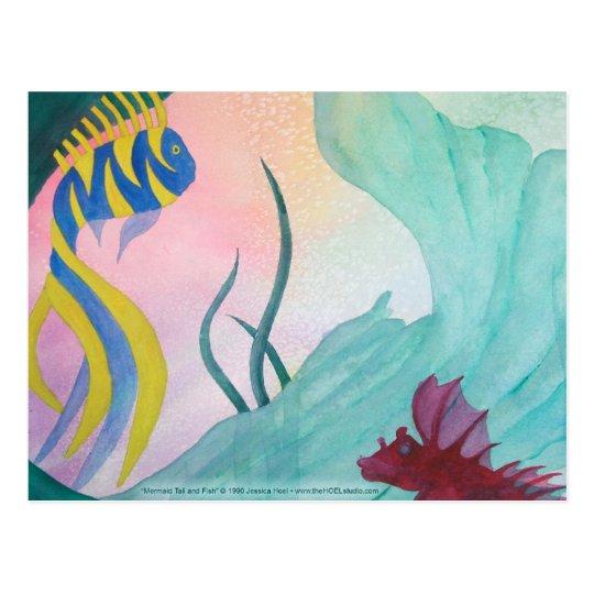 Mermaid Tail & Fish Postcard