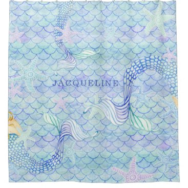 Beach Themed Mermaid Tail Fish Scale Pattern Girl Name Starfish Shower Curtain