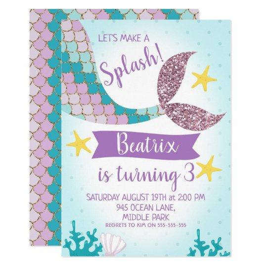 Mermaid Tail Purple And Teal Birthday Invitation