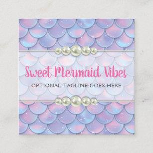 Sparkle business cards zazzle mermaid tail scale pearl pastel sparkle boutique square business card colourmoves