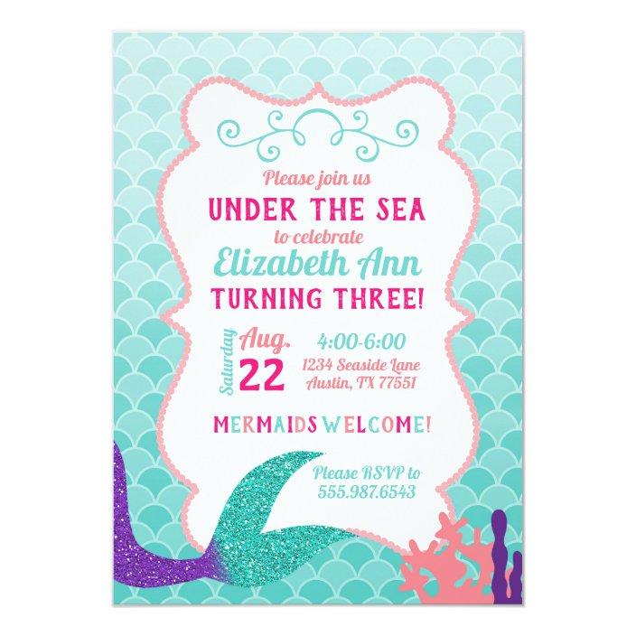 Mermaid Tail Under The Sea Birthday