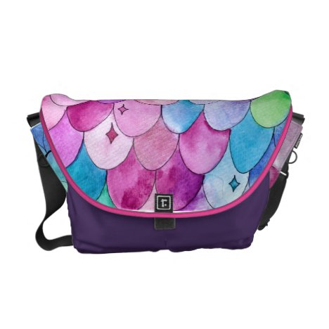 Mermaid tail watercolor pattern courier bag