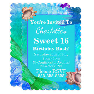 Mermaid Tails & Conch Shells Sweet 16 Party Card