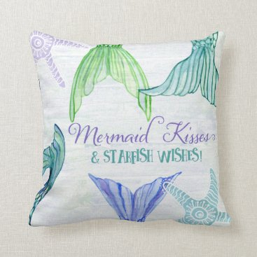 Beach Themed Mermaid Tails Kisses Starfish Wishes Saying Wood Throw Pillow