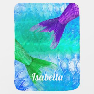 Mermaid Tails & Scales Baby's Name Stroller Blanket