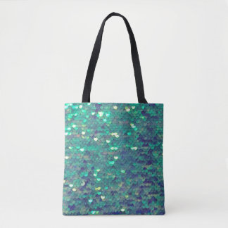 mermaid teal aqua blue sequin pattern tote bag