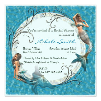 Mermaid Teal Blue Floral Bridal Shower Invites