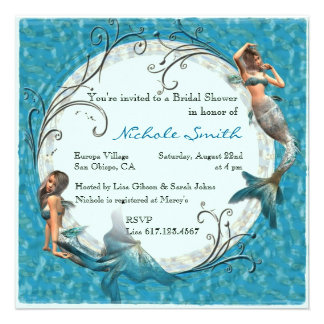 Mermaid Teal Blue Floral Bridal Shower Invites Personalized Invitation