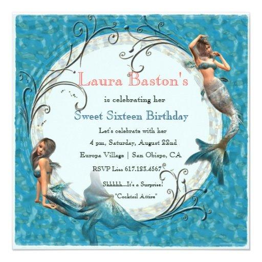 Mermaid Teal Blue Sweet 16 Birthday Invites