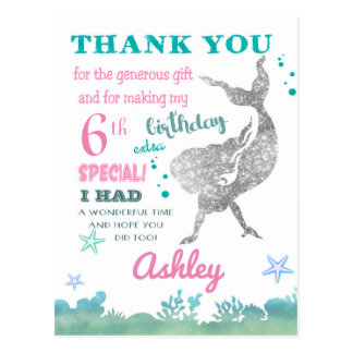 Mermaid Thank You Card Birthday Party