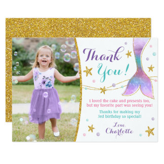 Mermaid Thank You Card - Under the Sea Thank You