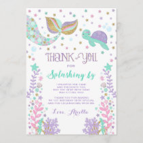 Mermaid Thank You Card Under The Sea Thank You