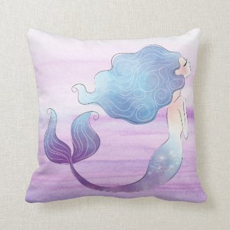 Mermaid Throw Pillow Blue Hair Purple Fin