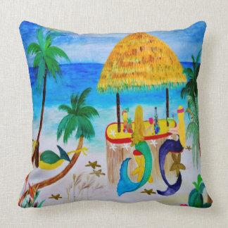 Mermaid Tiki Beach Bar Throw pillow