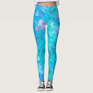 Mermaid: Tropical Blue, Pale Rose, Gulfstream Leggings