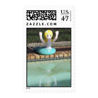 Mermaid Tube at Poolside Postage