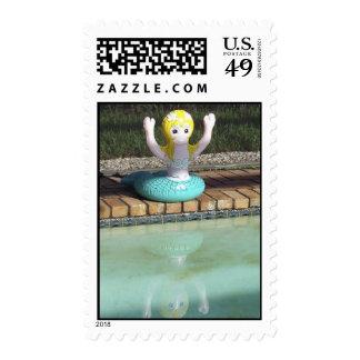 Mermaid Tube at Poolside Stamp