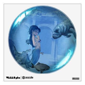 Mermaid & Turtle Glass Sphere Wall Decal
