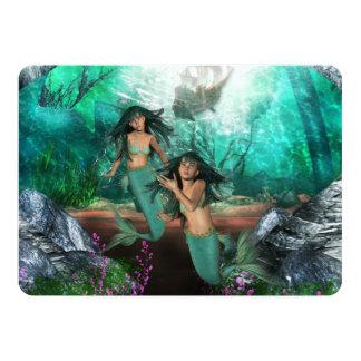 """mermaid-twins-1 invitación 5"""" x 7"""""""