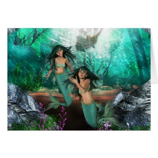 Mermaid Twins Greeting Card