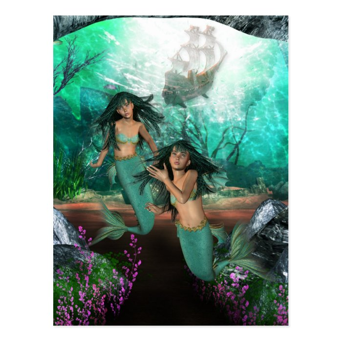Mermaid Twins Postcard