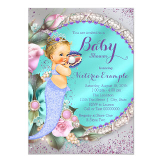 Mermaid Under The Sea Baby Shower 4.5x6.25 Paper Invitation Card