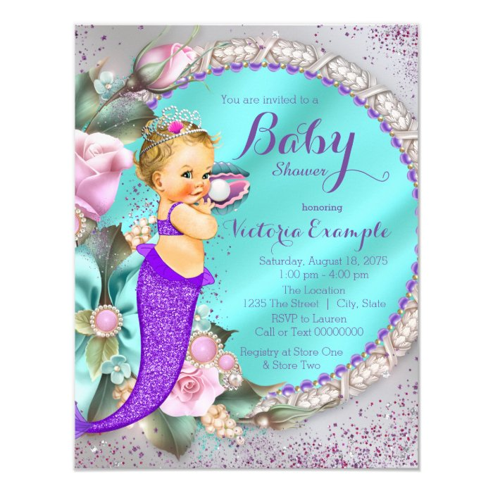 Mermaid Under The Sea Baby Shower Card | Zazzle