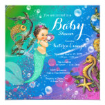 Mermaid Under the Sea Baby Shower 5.25x5.25 Square Paper Invitation Card