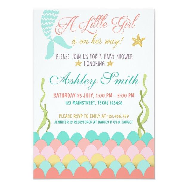 Mermaid Under The Sea Baby Shower Invitation | Zazzle