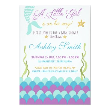 Anietillustration Mermaid Under The Sea Baby Shower Invitation