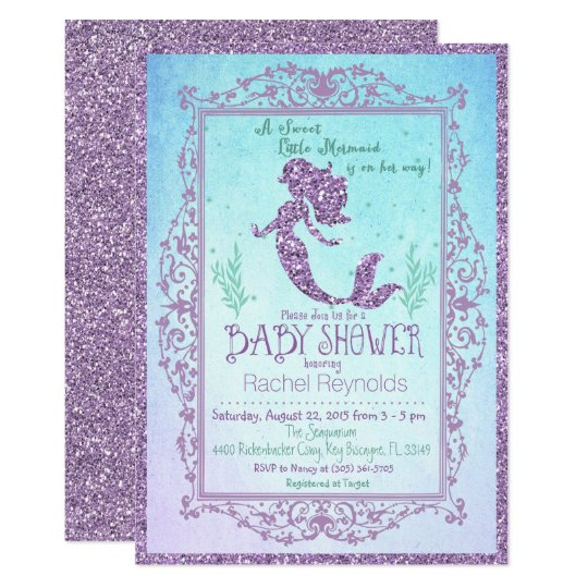 Lovely Mermaid Under The Sea Baby Shower Invitation